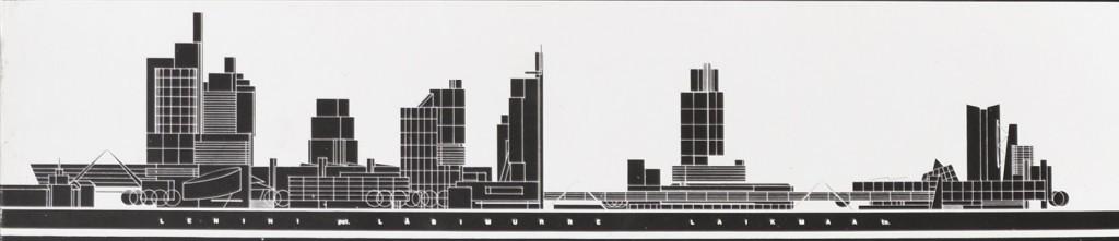 OkasLõoke Paberivabriku ala ideeprojekt. Paberivabriku ala ideeplaneering Milano näitusel Salon international de l'architecture, 1991. Arhitektid Jüri Okas, Marika Lõoke Detail projektist.